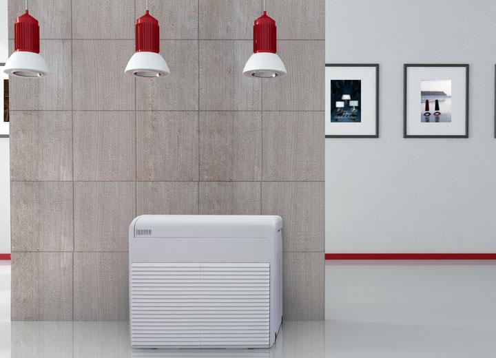 Humidificador de aire móvil en un museo