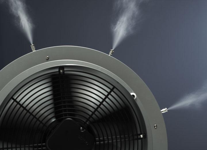 Ventilatorenhed til jævn fordeling af forstøvet vand