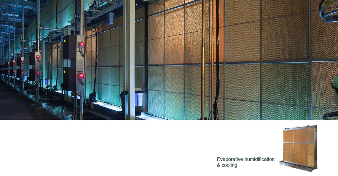 Evaporative humidifiers at data centres