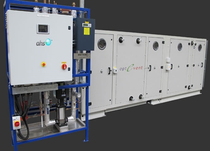 Evaporative humidifier provides cooling to packaged AHU