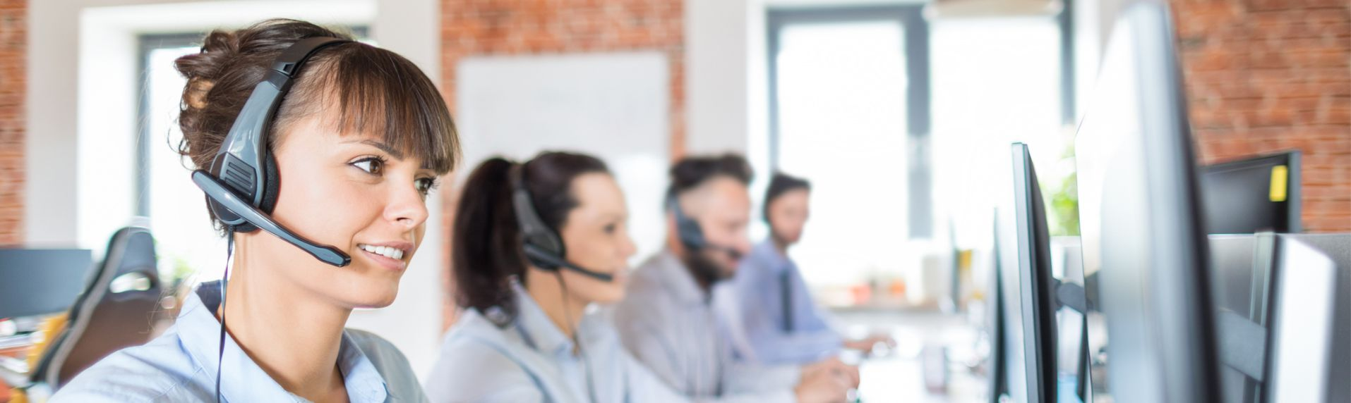 Employees working at a call center