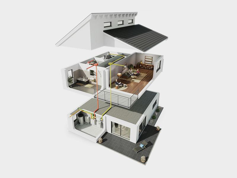 Luftbefeuchtung für kontrollierte Wohnraumlüftung