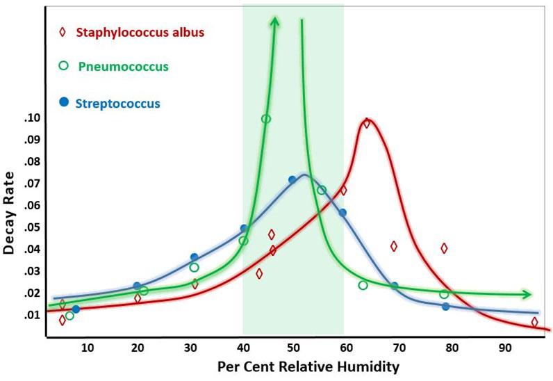 Pathogen decay rate versus percentage relative humidity graph