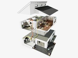Diffusions-Luftbefeuchter in einem Einfamilienhaus