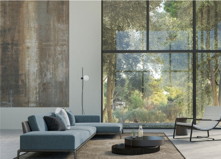 Modern art and architecture in a home