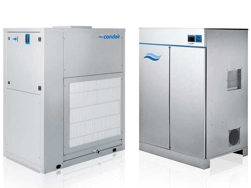 The Condair dehumidifier range comprehensively covers both desiccant and condensing technologies