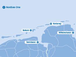 Die 54 Windkraftanlagen von Nordsee One umfassen eine Fläche von rund 41 km².