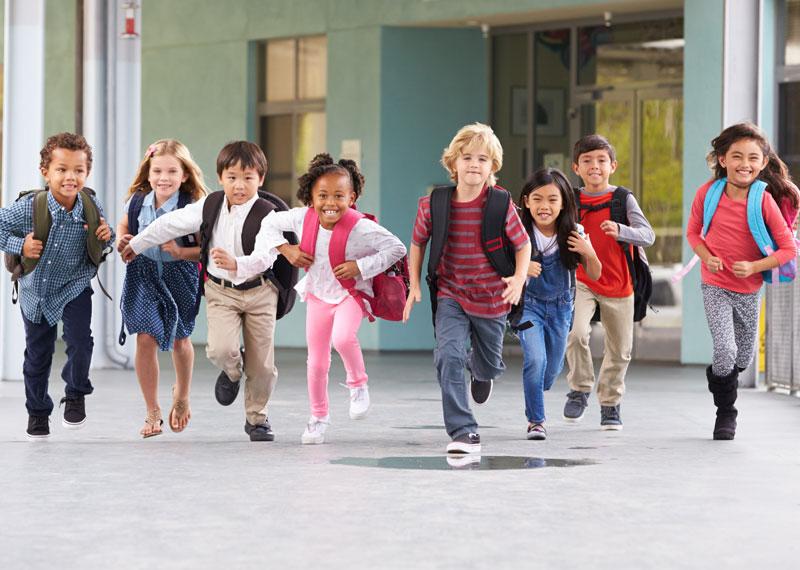 school children running