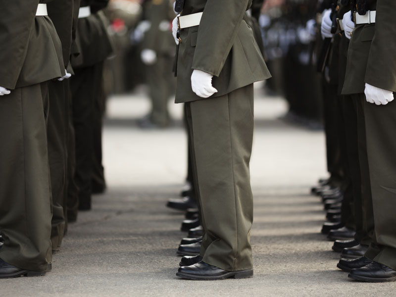 soldiers standing at attention