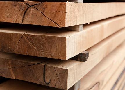 Stacks of wooden planks