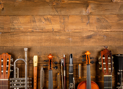 Various instruments on a wooden background